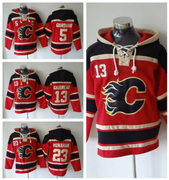 Cheap 23 Sean Monahan Hockey Hoodie Ice Calgary Flames Old Time Hooded 5 Mark Giordano 13 Michael Cammalleri Pullover Sweatshirt