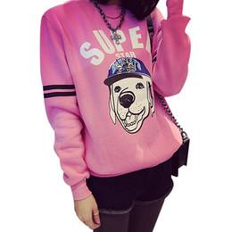 2016 New Winter Women Hoodies Cartoon Dog printed Letter Sweatshirt Long sleeve Tops Casual Ladies Pullover Hoodies feminino