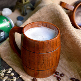Wholesale pc Classical Japanese Style Natural Wood Work Wooden Beer Mugs Cup Drinking Mup ml ml For Gatherings Party Carnival