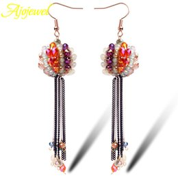 010 Austrian crystal drop earrings top quality handmade bohemian style metal tassel long earring