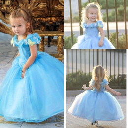 Wholesale 2015 Hot Sale Lovely Cap Sleeve New Movie Deluxe Cinderella Dress Cosplay Costume Party Dress Princess Dress Cinderella Costume For Kids hot