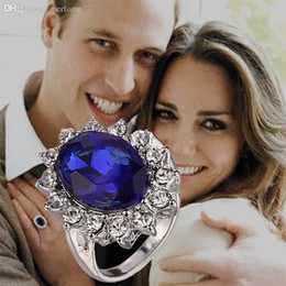 Wholesale-Luxury British Kate Princess Diana William Engagement Wedding Blue Sapphire Ring Set Pure Solid 925 Sterling Silver