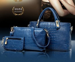Wholesale 2015 Crocodile Leather Women Handbag Shoulder Bags Lady s Vintage Messenger Bags Wallet Buy one get three