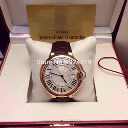 Wholesale Factory Supplier Classic Series Blue balloons White Dial Famous Dress Dial Rose Gold Case Brown Leather Strap Automatic Men s Watches mm