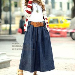 Wholesale 2015 Skirts Female Washed Denim Skirts Casual Ankle length Long Skirt Ball Gown Women Skirts Jeans With Belt