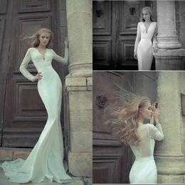 Wholesale 2016 Spring Summer V neck Mermaid Wedding Dresses Chiffon Sexy Beach Bridal Gowns Lace Appliques Fish Tail Court Train Elegant Vestidos De