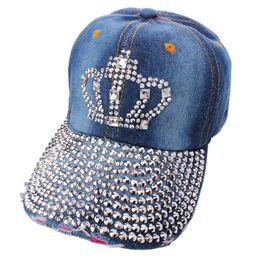 Wholesale Korean Rhinestone Bling Crown Letter Hope Hats Fashion Snapback Hats Trend Adjustable Washed Denim Baseball Caps Denim Cap