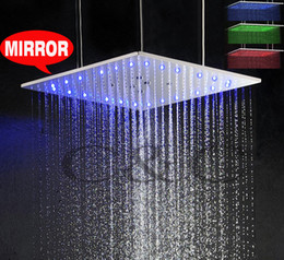 20 Inch Square Swash And Rainfall Top Shower Temperature Sensitive 3 Colors LED Shower Head With Arms