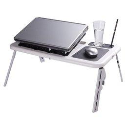Wholesale Adjustable Portable Laptop USB Folding Table Laptop Desk with Cooling Fans Mouse Pad