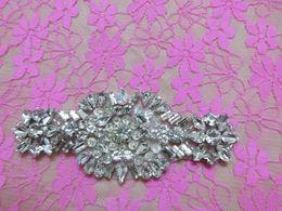 Wholesale Silver Crystal Clear Rhinestone Applique Metal Pearl And Glass Drill Back Embellishment Bridal Headwear AA cm cm