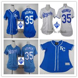 2015 World Series Champions KC Kansas City Royals Femmes Jersey Authentiques 35 Erik Hosmer Base Cool Maillots de base-ball cheap lady city à partir de dame ville fournisseurs