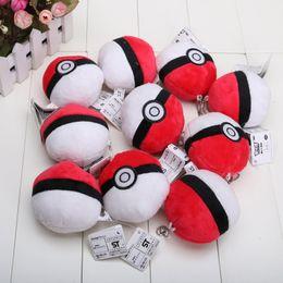 Wholesale Pikachu Red Ball cm Soft Plush Toy Pendant Key chain Doll Poke Ball Pokeball for children