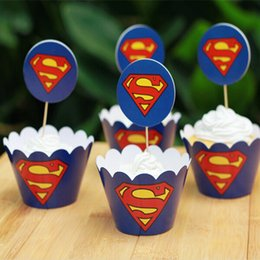 Wholesale Creative Superman Paper Cupcake Wrappers Decorating Boxes Baking Cake Cups With Toppers Picks For Kids Xmas Birthday Party Supplies