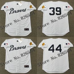 Wholesale Cheap Atlanta Braves HOYT WILHELM HANK AARON jersey Home throwback Baseball Jersey stitched S XL for sale