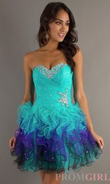 Wholesale Charming Amazing Crystal Bead Sequins Cascading Ruffle Short Mini Homecoming Dresses Turquoise And Purple Organza Short Party Prom Gowns