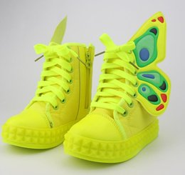 Brand new children shoes girls shoes fashion wings sneakers kids shoes for girl candy color casual shoes girls