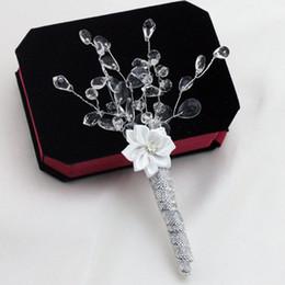 Wholesale Luxury Groom Corsage Crystal Branch Handmade Ribbon Flower Design Boutonniere Wedding Groomsman Accessories wbc003