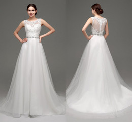 New In Stock Lace Wedding Dresses 2018 Cheap Jewel Neckline Sheer Wedding Gowns Appliques Beaded White Ivory Inventory Bridal Dress 28237