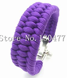 Wholesale-19 Colors ParaCord Survival Bracelet Weave Handmade 7-Stand Stainless Steel Shackle Buckle Outdoor Camping Survival Kits