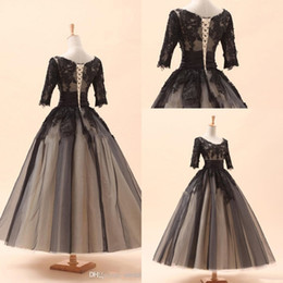 Wholesale 2016 Amazing In Stock Cocktail Dresses A Line Crew Black Appliques Long Sleeve Tea Length Lace Tulle Prom Party Dress