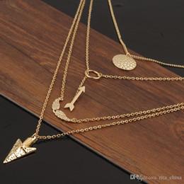 Anges ailes en Ligne-Plaqué Hot Fashion Femme Collier aile d'ange d'or fatima main 3 couches barre de chaîne Collier B Bijoux Colliers