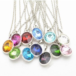 Wholesale 2016 New Birthstone Crystal Pendant Necklaces of Months Birthstone Alex and Ani Charm Pendant Necklaces