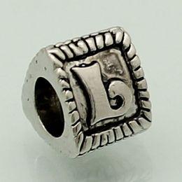 plating TRIANGLE Letter K to T bead alphabet BRACELET European DIY charm fit Pandora Chamilia Biagi bracelet