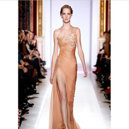 Wholesale 2016 Spring Fashion Show Women Sexy One Shoulder High Slit Pleat Chiffon Beaded Sequin Runways Evening Dresses