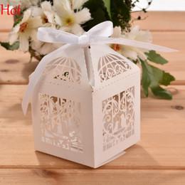 Wholesale 50pcs Love Heart Laser Cut White Bird Pattern Gift Candy Boxes Wedding Party Favor DIY Party Wedding Candy Boxes With Ribbon Holder SV023626