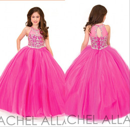 2018 Fuchsia Jewel Crystal A Line Princess Long Girls Pageant Dresses New Sleeveless Keyhole Back Tulle Flower Girls Party Gowns BA0228