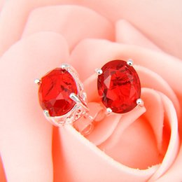 New Real Stud Earrings Wholesale Price -- LuckyShine Oval Shaped Red Garnet Gems 925 Sterling Silver Plated Stud Earrings 2 Pair  Lot Shipp