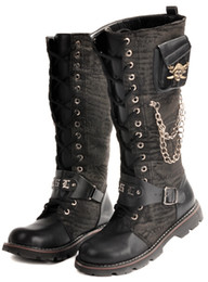 Men's Shoes Knee-High Boots,Punk Metal Skull Lace-Up Nubuck PU Leather Winter Casual Cowboy Work Combat Amy Boots,US Size 6.5-10