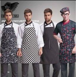 Wholesale Canvas Kitchen Aprons - Stylish Adult Mens Black Stripe Bib Apron with Pocket Chef Cafe Commercial Restaurant Uniform Chef Kitchen Work Clothing