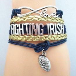 Infinity Love Fighting Irish Football college Team Bracelet blue gold Custom Sports friendship bracelets