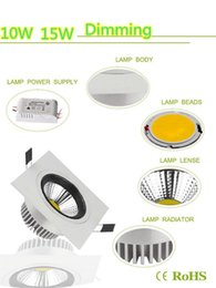 COB 10W 15W Led Square Downlights Recessed Lights 600 1200 Lumens Warm Cool White Dimmable Led Fixture Ceiling Lights 110-240V
