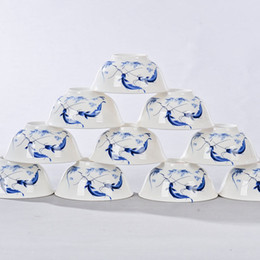 Wholesale inch Chinese bowls ceramics bone china rice bowl porcelain dinnerware in glaze decoration china Gift best wish