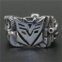 1pc Free Shipping New USA Movie Robot Ring 316L Stainless Steel Man Boy Fashion Band Party Hot Selling Robot Hero Ring