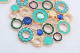 Fashion Design Blue Color Enamel Round Bijoux Dangle Earrings 2014 Spring New earrings brown earrings diamante