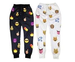 2014 New emoji joggers pants style print cartoon clothes women joggers black & white emoji Pants sweatpants trousers sportswear women pants
