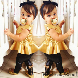 2015 New Cool Baby Girl Suit Gold Shirt Dress Leggings Pants Sexy Clothing Sets Casual Short Sleeve 2 Pieces Dance Party Clothes SV006880