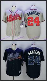 Wholesale Deion Sanders Jersey Atlanta Braves Baseball Jerseys Stitched Blue Grey