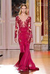 Fuchsia 2015 V Neck Chiffon Zuhair Murad Elegant Sexy Applique Sheer Long Sleeve Evening Dresses Gowns ZH42