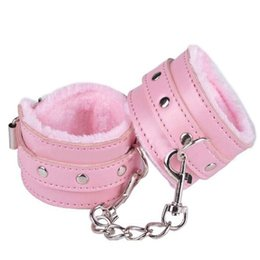Wholesale Soft Black Pink Leather Handcuffs Restraints Costume Restraint Bondage PlayChain Adult Game Sex Toys for couples erotic products