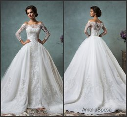 Wholesale Gorgeous Sheer Amelia Sposa Wedding Dresses Detachable Remove Skirt Illusion Applique Lace Long Sleeve Bridal Ball Gowns Chapel Train