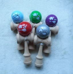 Wholesale Cute Angry face kendama wooden paint sword ball Skillful Jling Game Ball Japanese Traditional Toy Balls Educational Toys