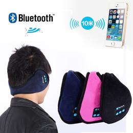 Wholesale-Wireless Bluetooth Earmuffs Music Headset Stereo Headphone Winter Warm Leather Earmuff Speaker