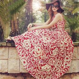 2016 Fresh floral Bohemian dress The drape chiffon dresses for womens big beach dress summer long chiffon dresses for women