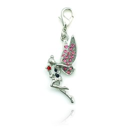 Fashion Silver Color Lobster Clasp Charms Pink Rhinestone Angel Pendants Charms DIY For Jewelry Making Accessories