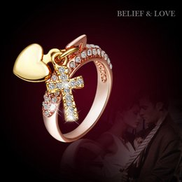 Heart Rings for Women Rose Gold Filled Wedding Bands China Wholesale 18K Gold Diamond Engagement Rings Fashion Jewelry Cross Diamond Rings