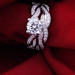 Luxury Sz 5-10 Brand Design 18k white gold filled white topaz Women Wedding Ring set